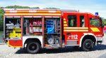 HLF 20/16 Ansicht Beifahrerseite mit offenen Geräteräumen